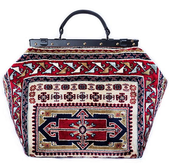 Image of SAC-VOYAGE  Vintage Navy Victorian Carpet Bag.