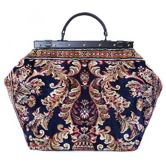 Image of SAC-VOYAGE  Blossom Navy Victorian Carpet Bag.