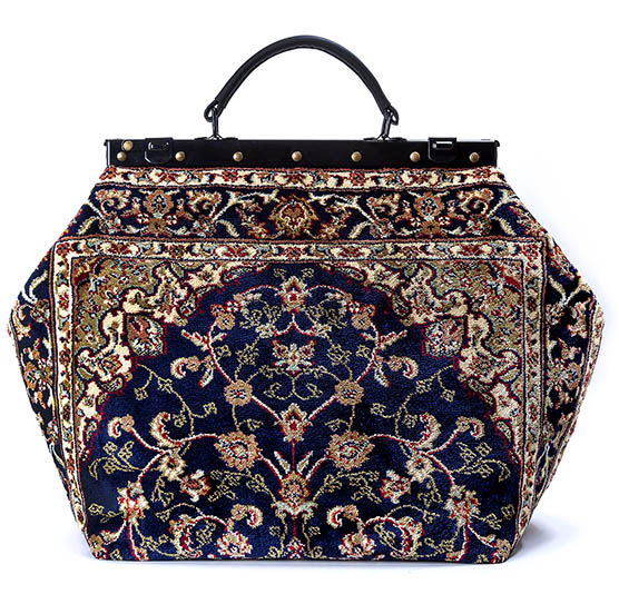 Image of SAC-VOYAGE  Palace Navy Victorian Carpet Bag.