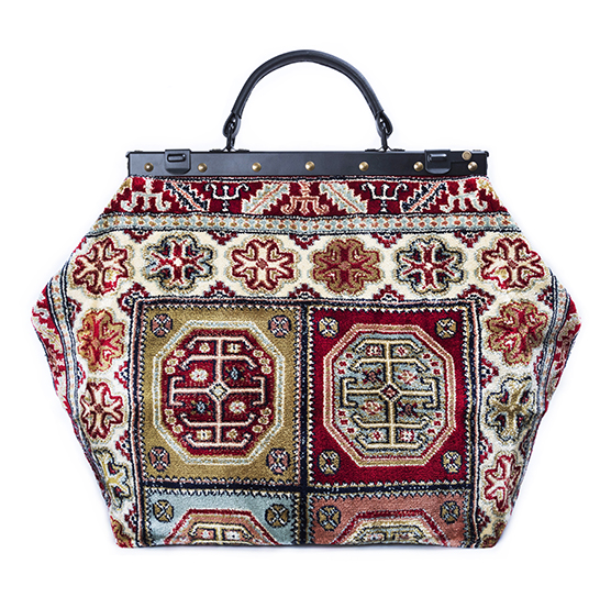 Image of SAC-VOYAGE  Aztec Red Victorian Carpet Bag.