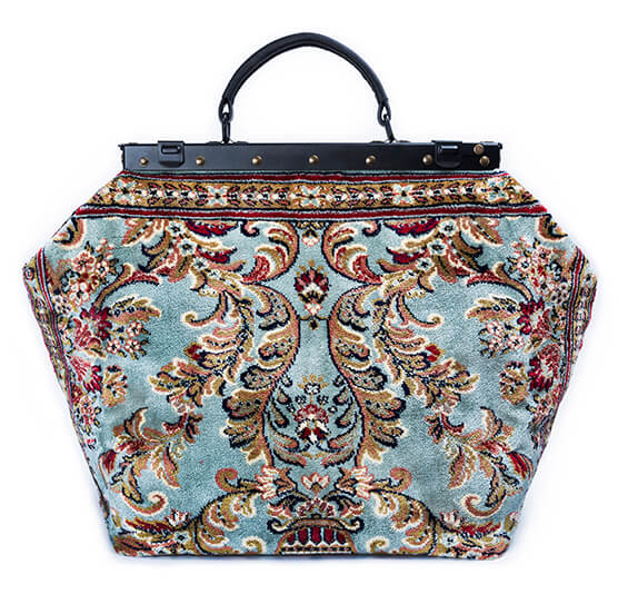 Image of SAC-VOYAGE  Blossom Silver Victorian Carpet Bag.