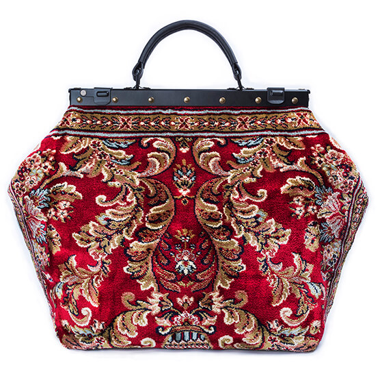 Image of SAC-VOYAGE  Blossom Red Victorian Carpet Bag.