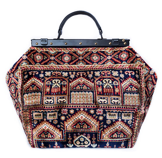 Image of SAC-VOYAGE  Intarsia Navy Victorian Carpet Bag.