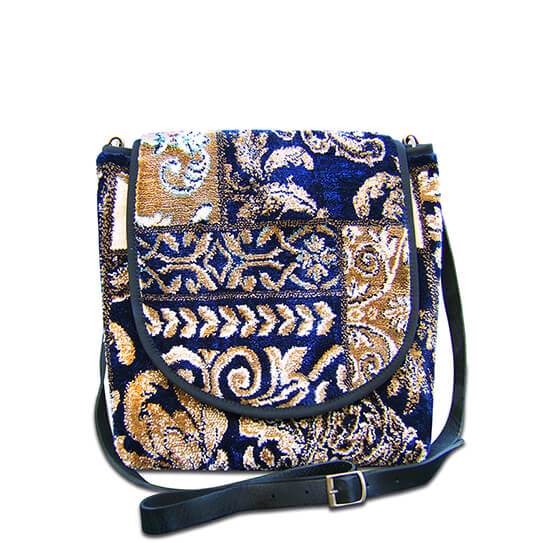 Image of EXPRESS Appliqué Navy  Victorian Carpet Bag.