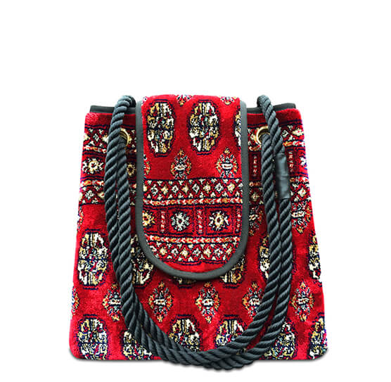 Image of TORBA PLUS Bukhara Red Victorian Carpet Bag.
