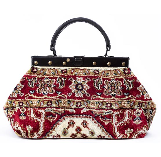 Image of EXQUISITE Firebird Red Victorian Carpet Bag.