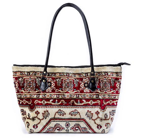 Image of AMENITY Firebird Red Victorian Carpet Bag.