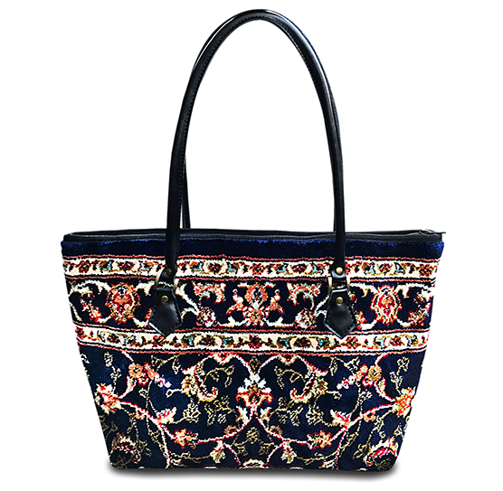 Image of AMENITY Palace Navy Victorian Carpet Bag.