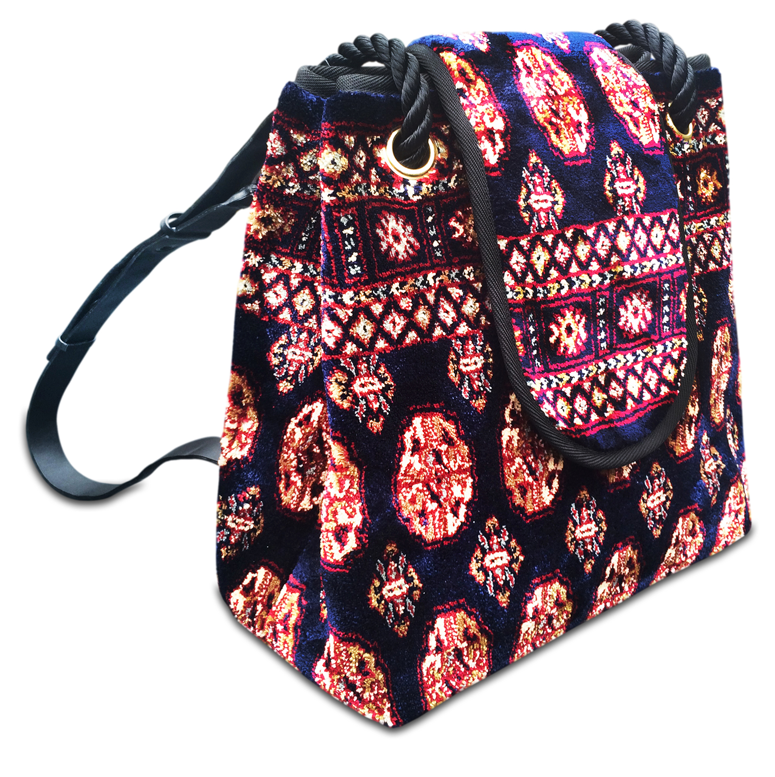 Image of BACKPACK Bukhara Navy Victorian Carpet Bag.