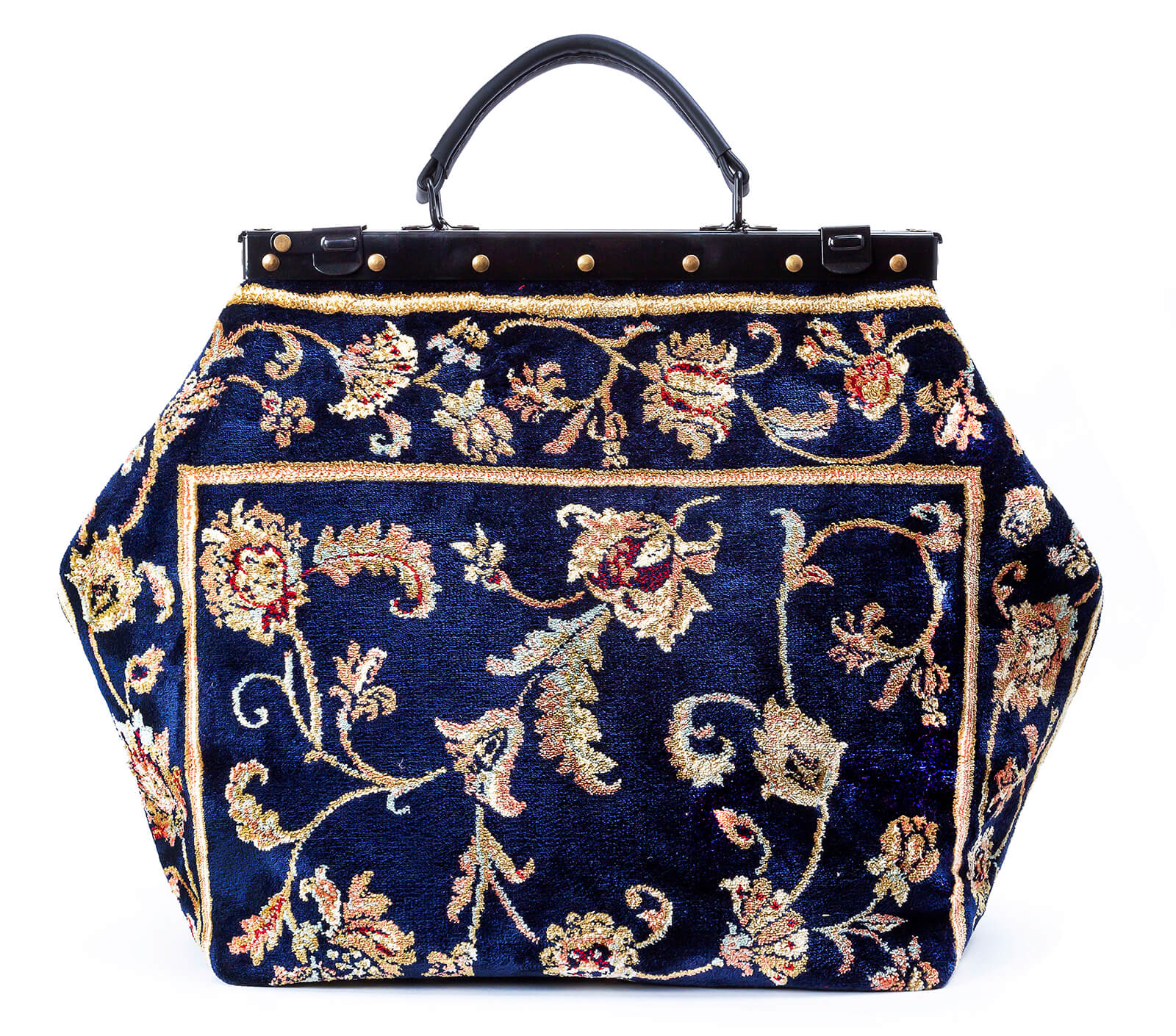 Image of SAC-VOYAGE  Pergola Navy Victorian Carpet Bag.