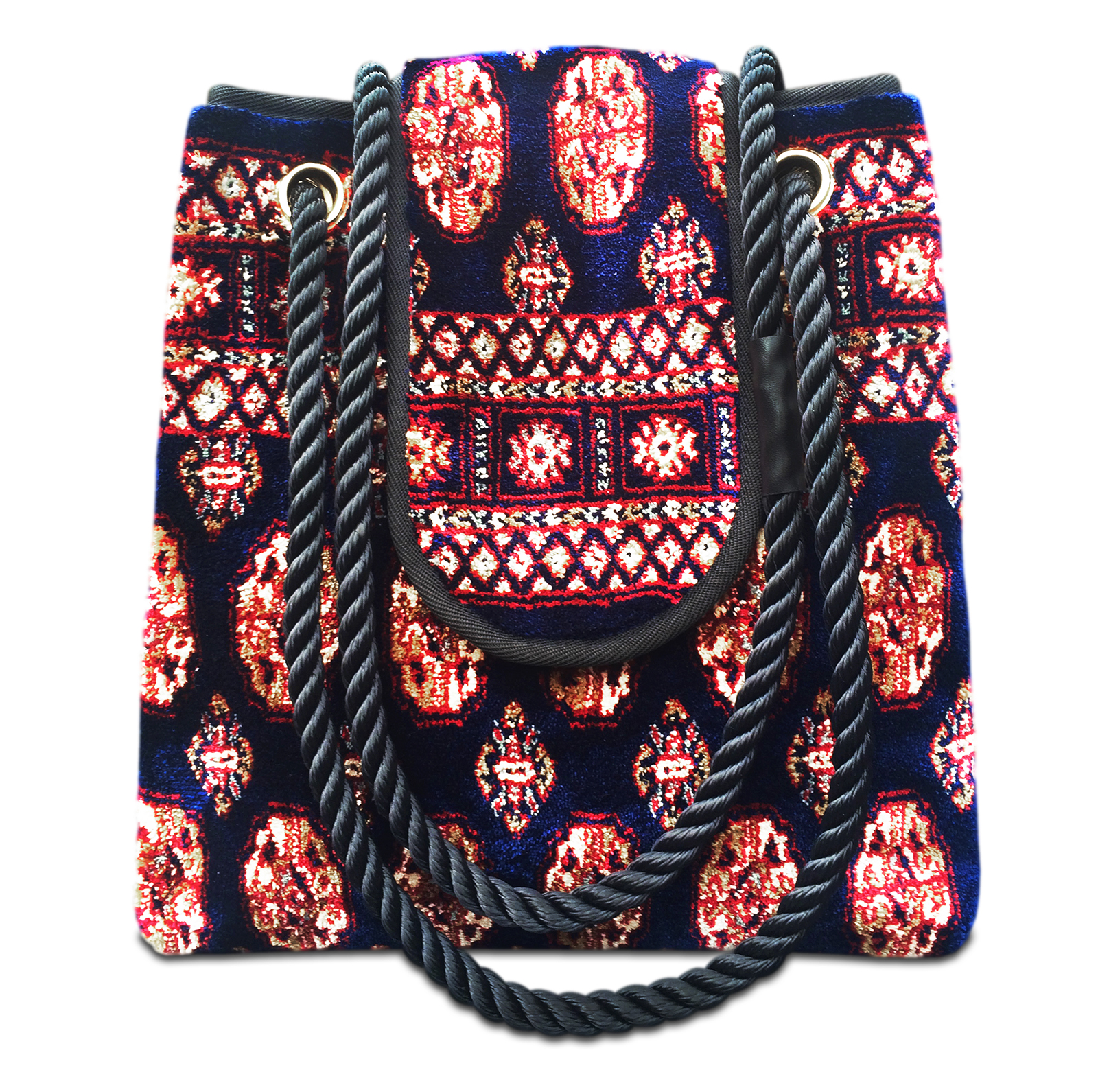 Image of TORBA PLUS Bukhara Navy Victorian Carpet Bag.