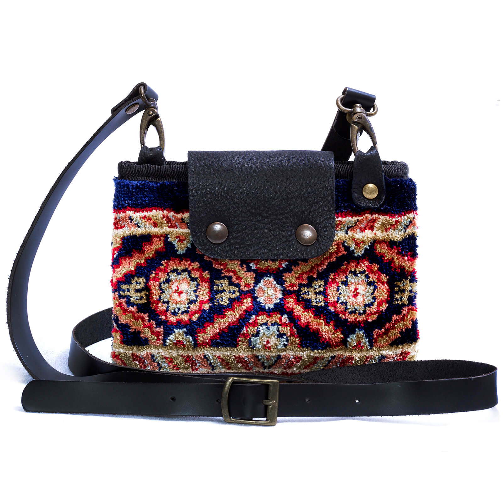 Image of MYSTERY Intarsia Navy Victorian Carpet Bag.