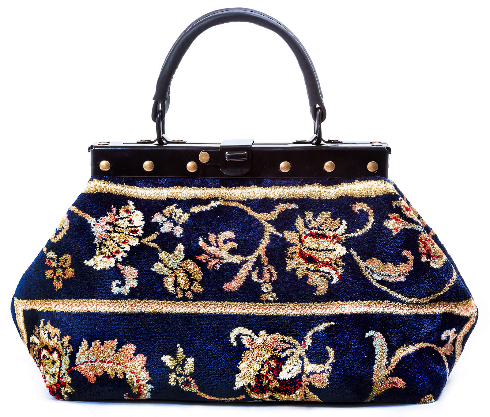 Image of EXQUISITE Pergola Navy Victorian Carpet Bag.