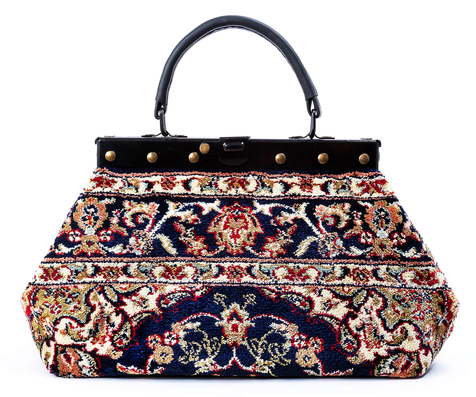 Image of EXQUISITE Palace Navy Victorian Carpet Bag.