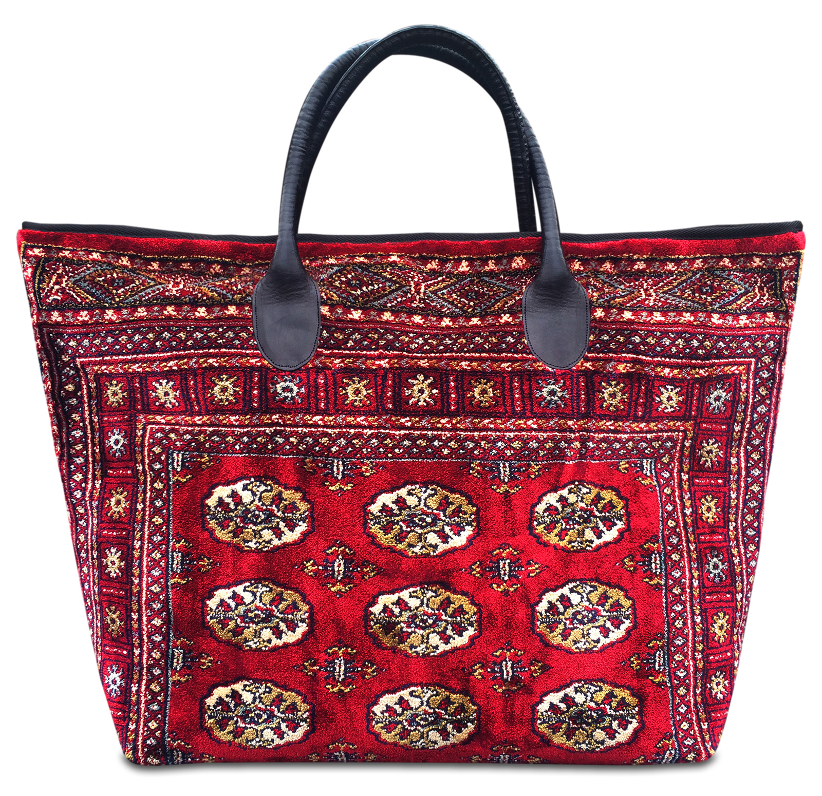 Image of VOYAGER ELITE Bukhara Red Victorian Carpet Bag.
